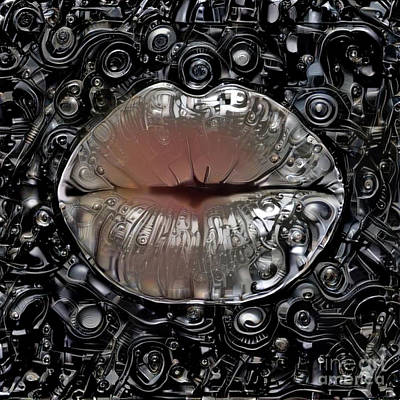 Kissing Digital Art - Kissing Lips by Amy Cicconi