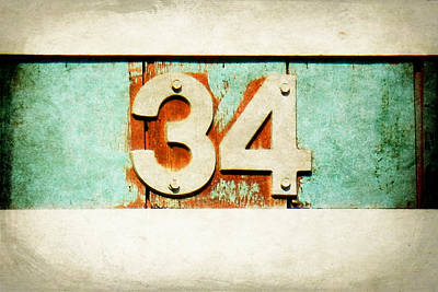 Number 34 Digital Art - 34 On Weathered Aqua by Valerie Reeves