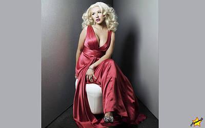 Christina Digital Art - 3486 Celebrity Christina Aguilera  by F S
