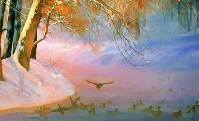 Red Painting - Nature Landscapes Prints by Edna Wallen