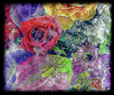 Painting - 34a Expressive Floral Digital Painting by Ricardos Creations