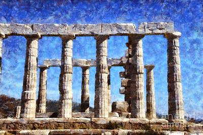 Spring Flowers Painting - Temple Of Poseidon by George Atsametakis