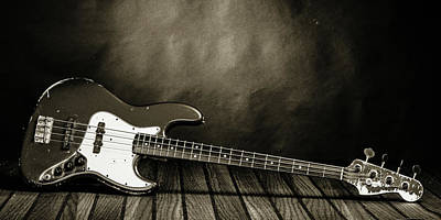 Photograph - 350.1834 Fender Red Jazz Bass Guitar In Bw by M K Miller