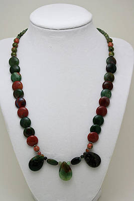 Sterling Silver Necklace Jewelry - 3505 Fancy Jasper And Unakite Necklace by Teresa Mucha