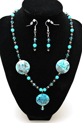 3508 Crazy Lace Agate Necklace And Earrings Original by Teresa Mucha