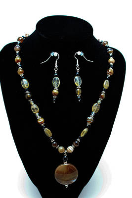 3509 Amber Striped Onyx Set Original by Teresa Mucha