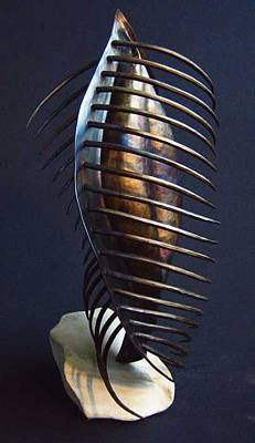Sculpture - Standing Ribbed Vessel by Todd Malenke