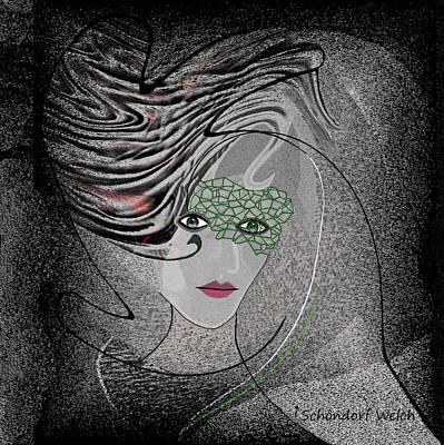 Digital Art - 351  Elegant Lady 2017 V by Irmgard Schoendorf Welch