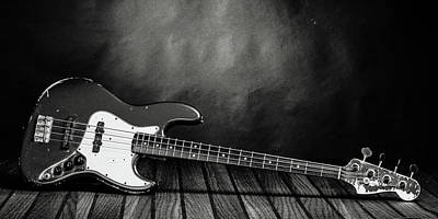 Photograph - 351.1834 Fender Red Jazz Bass Guitar In Bw by M K  Miller