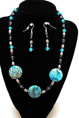Silver Turquoise Jewelry - 3517 Crazy Lace Agate Set by Teresa Mucha
