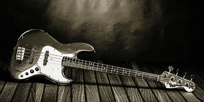 Photograph - 352.1834 Fender Red Jazz Bass Guitar In Bw by M K Miller