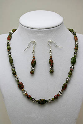 3525 Unakite Necklace And Earring Set Original by Teresa Mucha