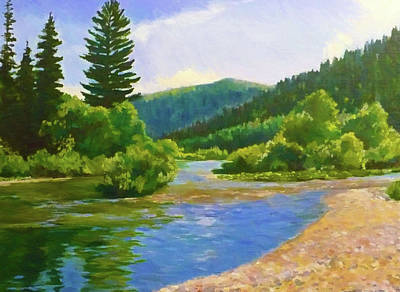 River Painting - Nature Landscape Art by Edna Wallen