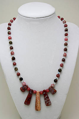 3541 Rhodonite And Jasper Necklace Original