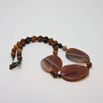 3543 Coffee Vein Agate Necklace Original by Teresa Mucha