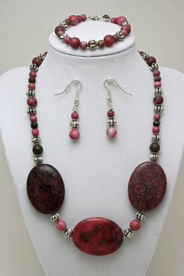 3544 Rhodonite Necklace Bracelet And Earring Set Original by Teresa Mucha