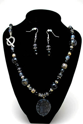 Sterling Silver Necklace Jewelry - 3545 Black Cracked Agate Necklace And Earring Set by Teresa Mucha