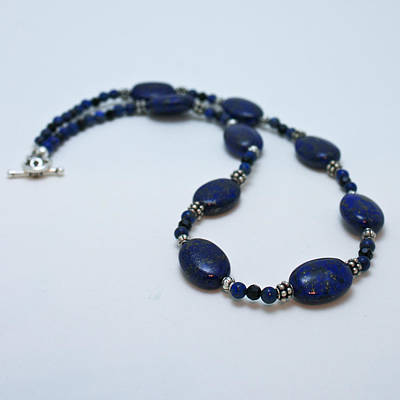 Sterling Silver Jewelry - 3553 Lapis Lazuli Necklace And Earrings Set by Teresa Mucha