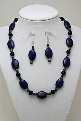 Sterling Silver Necklace Jewelry - 3555 Lapis Lazuli Necklace And Earring Set by Teresa Mucha