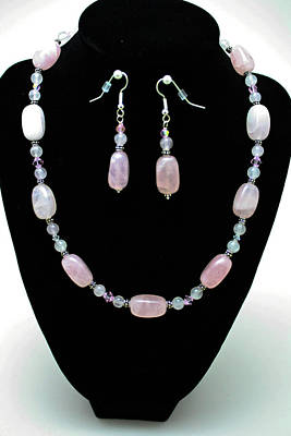 3558 Rose Quartz Set Original by Teresa Mucha