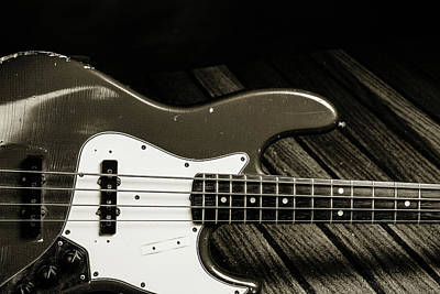 Photograph - 356.1834 Fender Red Jazz Bass Guitar In Bw by M K Miller