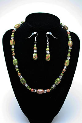 3565 Unakite Necklace And Earrings Set Original by Teresa Mucha