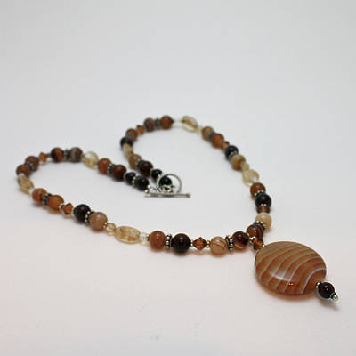 Sterling Silver Jewelry - 3574 Coffee Onyx Necklace by Teresa Mucha