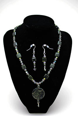 3576 Kambaba And Green Lace Jasper Necklace And Earrings Original by Teresa Mucha