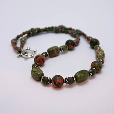Sterling Silver Jewelry - 3579 Unakite Necklace  by Teresa Mucha
