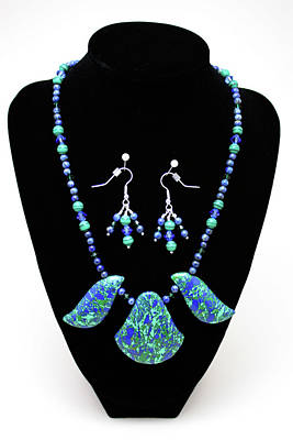 3582 Lapis Lazuli Malachite Necklace And Earring Set Original by Teresa Mucha