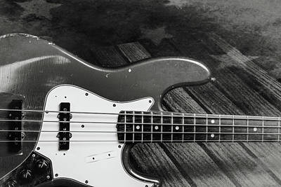 Photograph - 359.1834 Fender Red Jazz Bass Guitar In Bw by M K  Miller