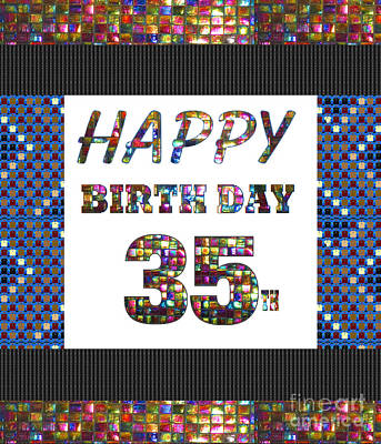Painting - 35th Happy Birthday Greeting Cards Pillows Curtains Phone Cases Tote By Navinjoshi Fineartamerica by Navin Joshi