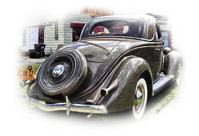 1936 Ford Digital Art - 36 Ford At The Shell Station .... by Rat Rod Studios