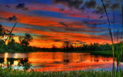 Beautiful Digital Art - Landscape Oil Painting For Sale by Landscape Art