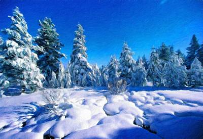 Winter Painting - Nature Art Landscape by Margaret J Rocha