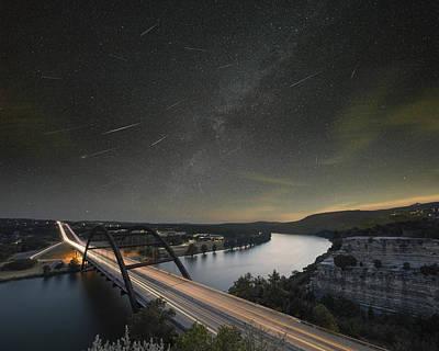 360 Bridge And The Perseid Meteor Shower Art Print by Rob Greebon