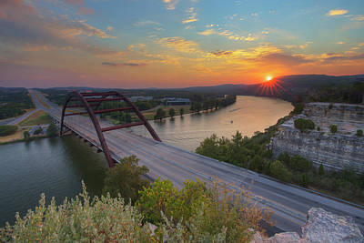 360 Wall Art - Photograph - 360 Bridge Austin Texas Summer Sunset 3 by Rob Greebon