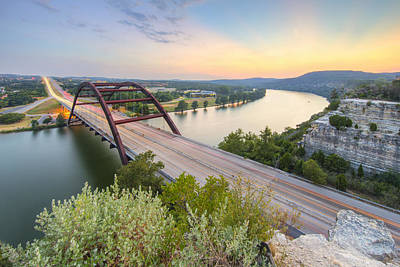 360 Bridge Sunset Over Austin In August 2 Art Print by Rob Greebon
