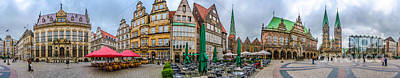 360 Panorama Of Famous Bremen Market Square Art Print by JR Photography