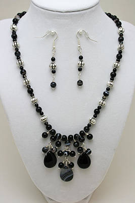 3601 Black Banded Onyx Necklace And Earrings Art Print by Teresa Mucha