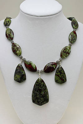 Sterling Silver Necklace Jewelry - 3602 Dragons Blood Jasper Necklace by Teresa Mucha