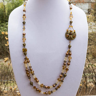 Long Necklace Jewelry - 3615 Long Pearl Crystal And Citrine Necklace Featuring Vintage Brass Brooch  by Teresa Mucha