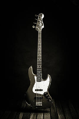 Photograph - 362.1834 Fender Red Jazz Bass Guitar In Bw by M K  Miller