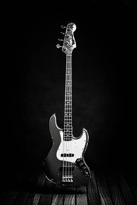 Photograph - 363.1834 Fender Red Jazz Bass Guitar In Bw by M K Miller