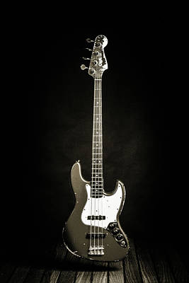 Photograph - 364.1834 Fender Red Jazz Bass Guitar In Bw by M K  Miller