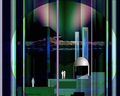 Monolith Digital Art - 365 - Nightscene   by Irmgard Schoendorf Welch