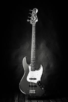Photograph - 367.1834 Fender Red Jazz Bass Guitar In Bw by M K  Miller