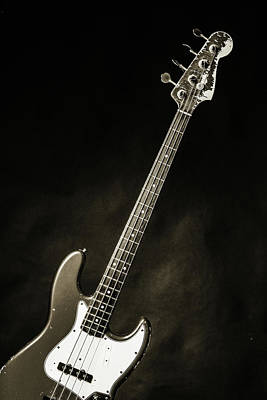 Photograph - 368.1834 Fender Red Jazz Bass Guitar In Bw by M K Miller