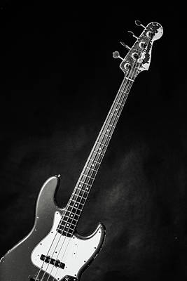 Photograph - 369.1834 Fender Red Jazz Bass Guitar In Bw by M K Miller