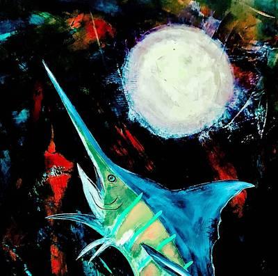 Wall Art - Painting - Blue Marlin  by Barry Knauff